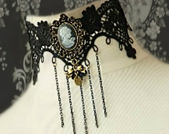Cameo lace choker steampunk choker vamp choker goth choker victorian choker