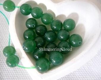 """Jade beads, round, ball, green, deep green, green jade, beads, gemstone, supplies, genuine, earrings findings, earrings, 8mm/0.315"""", vintage"""