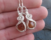 Wire Wrap Earrings, Garnet Earrings, Wire Wrap Earrings, Heady Wire Wrap, Wire Wrapped, Spessartine Garnet, Wire Wrap Jewelry, Handmade