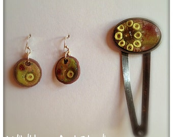 Polymer Earrings and Hairpin Set