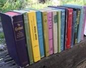 SALE Set of 17 Vintage Books - Antique Book Decor - Photo Props - Wedding Decor - Centerpieces - Colorful Set - Yellow Blue Purple Green