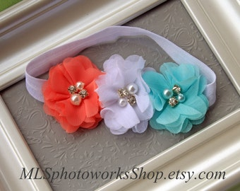 30% OFF SALE on Coral, White, Aqua Baby Girl Headband for Spring and Summer - Triple Chiffon Flower Bow for Newborns, Toddlers and Girls
