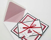 Unique Layered Red Wedding Invitation Heart with Arrow and Initials Red Lined Envelope