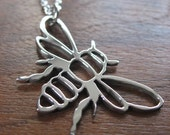 Silver Bee Pendant Necklace