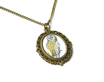 Owl Necklace Cute Necklace Woodland Cameo Necklace