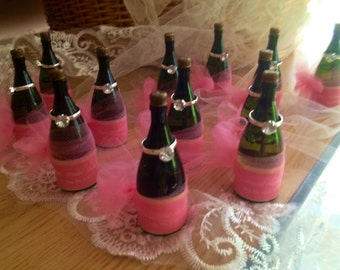One Dozen Miniature Wine Champagne Bottle Bubbles with Diamond Ring Favors with Customized Labels