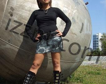 Camo mini skirt with pockets