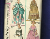 Vintage 1965 Simplicity 6205 Historical Girls Costumes Colonial Lady Frontier Purtain & Southern Belle Size 8 Girls