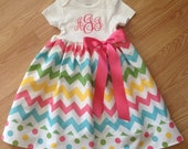 Easter baby onesie dress, Easter outfit, spring infant dress, monogram Easter baby dress, NB-6