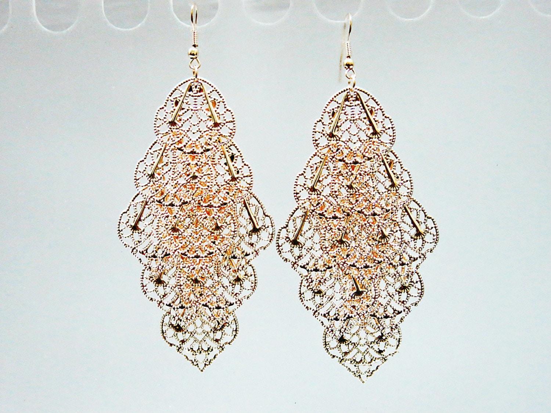 Rose Gold Fans Chandelier Earrings Boho Chandelier by