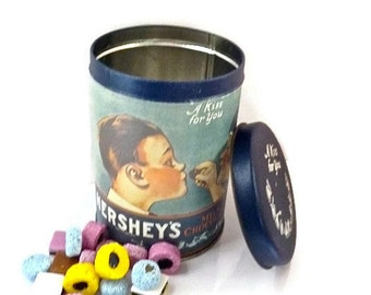Hershey Kisses Tin 1980s Boy and Girl Blushing 1907 Collectable Reproduction