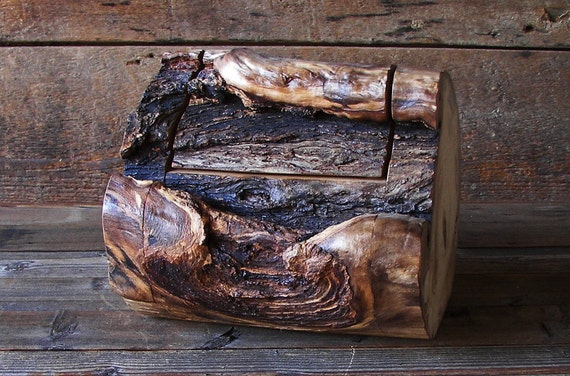 Rustic log box aspen wood home d cor accent by therusticnature for Aspen logs for decoration