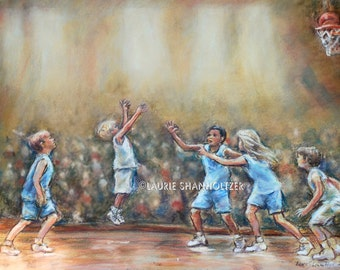 "Basketball kids sports, boy art,  nursery art, original pastel painting, ""SWISH""  Laurie Shanholtzer 16x20"