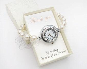 Mother of the Groom Gift, Pearl Watch, Rhinestones, Pearl Bracelet Watch, Bracelet Watch, Bridal Pearl Bracelet, Wedding Jewelry Z02
