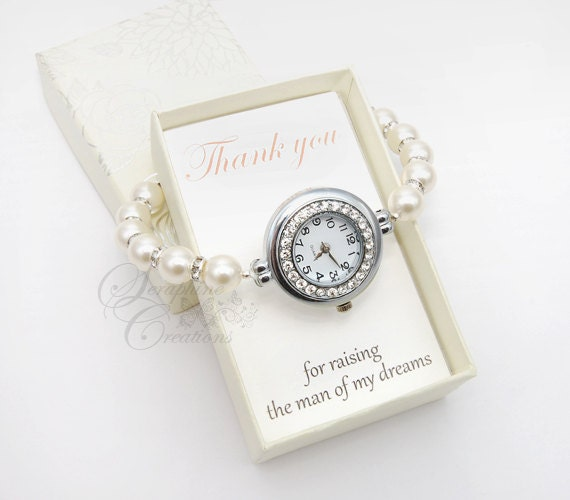 Wedding Gift Groom Watch : of the Groom Gift, Pearl Watch, Rhinestones, Pearl Bracelet Watch ...