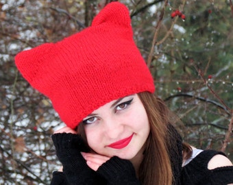 Knit Cat Ear Hat Red, Cat Ear Beanie, Cat Hats, Chunky Knit Cat Hat, Winter Accessories, Winter Hat, Black Cat Woman, Valentine's Day Gifts