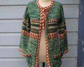 Space Dye 70s Sweater Green Bohemian Sweater Medium Cardigan Hippie Boho