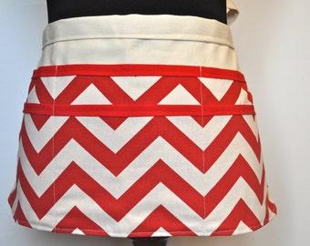 Chevron utility Apron,  Women's Vendor Apron, Red Chevron Apron, Teacher apron, Red and white chevron apron, Preschool teacher apron
