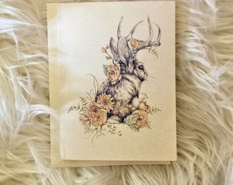 Floral Jackalope Note Card, individual blank greeting card, spring rabbit drawing