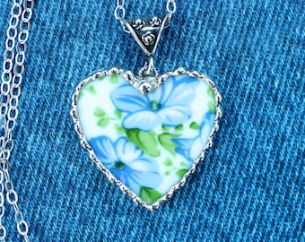 Necklace, Broken China Jewelry, Broken China Necklace, Heart Pendant, Blue Morning Glory Chintz, Sterling Silver, Soldered Jewelry