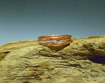 Rustic Stacking Rings - Copper and Sterling Silver - Set of 3