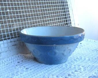 Antique 1930s Blue Stoneware Bowl; Wedding Band Pattern - Wedding Band Pattern Stoneware Mixing Bowl - Salt Glazed Stoneware Bowl
