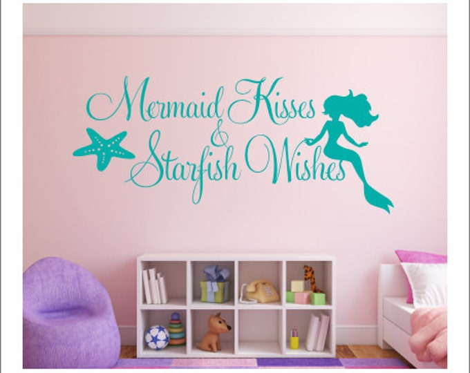 Mermaid Kisses Wall Decal Starfish Wishes Decal Wall Decal Mermaid Starfish Beach Ocean Wall Decal Girls Nursery Bedroom Decal Housewares