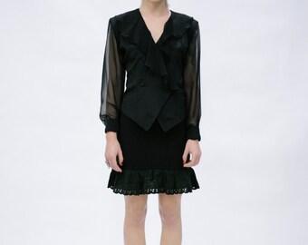 Sheer Sleeved Black Jabot Blouse Shirt