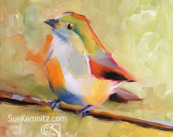 painted bunting no.2 - female - original oil painting