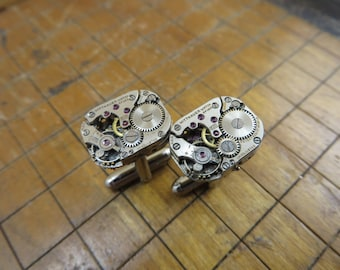 Wittnauer 5JH Watch Movement Cufflinks. Great for Fathers Day, Anniversary, Groomsmen or Just Because.  #383