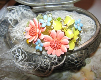 Vintage Flower Garden Ooak Recycled Costume Jewelry Victorian Bracelet Bangle