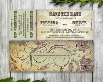Wedding Save the Date Concert Ticket for Organic Wedding, Music Ticket Invitation Printable, Earthy Invitation, Vine Wedding, VIP Ticket
