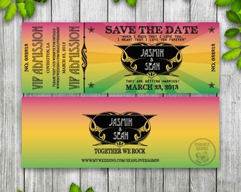 Concert Ticket Save the Date Printable, Ticket Wedding Invitation, Music Theme Wedding Invitation, Wedfest Ticket, Rock N Roll Vintage VIP