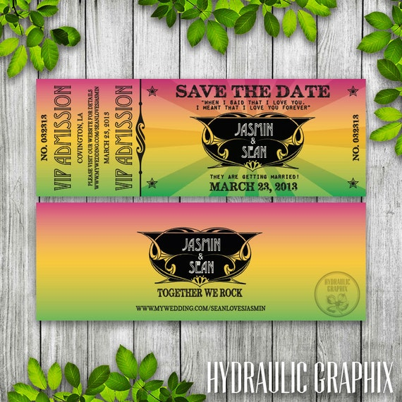 Concert Ticket Save the Date Printable, Ticket Wedding Invitation ...
