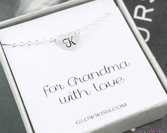 Grandma necklace, Grandma gift, Personalized necklace, Grandmother necklace on thank you card, Nana gift