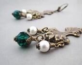 Bohemian Chandelier Earrings Huge Baroque Rocaille Victorian Jewelry Antiqued Brass Emerald Green Crystal White Pearl Swarovski Elements