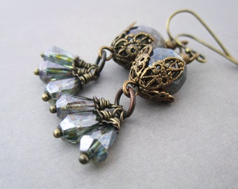 Filigree Earrings Moss Green Beaded Cluster Rustic Victorian Jewelry Antique Brass Bronze Brown Mysterious Jewelry Old World Egyptian Style