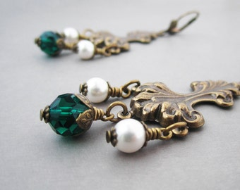 Bohemian Chandelier Earrings Huge Baroque Rocaille Victorian Jewelry Antiqued Brass Emerald Green Crystal White Pearl Swarovski Elements