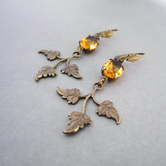 Art Deco Earrings - Brass Leaf - Amber Honey Yellow Vintage Glass - Wedding Jewelry