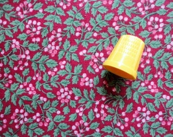 tiny pink berries on dark red vintage cotton fabric pieces