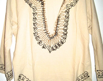 SALE 18.00 Vintage embroidered tunic boho hippie shirt 70s era cotton muslin top