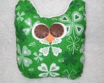 Irish Owl -  Shamrock Owl with White Minky - Stuffed Owl - Ready to Ship