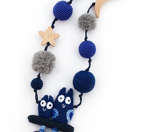 Nursing necklace Teething Necklace Sea Baby toy Blue owls