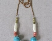 Turquoise + Coral Necklace, Spring Necklace, Pastel Necklace, Statement Necklace, Long Necklace