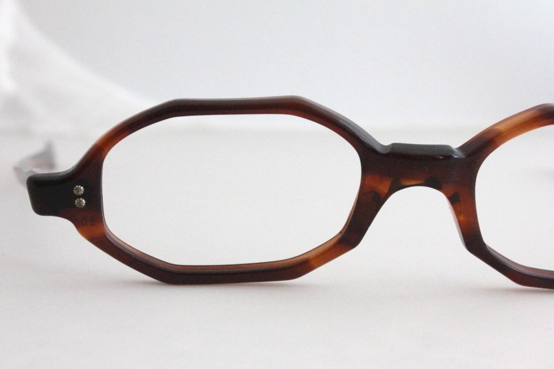 Vintage Tortoise Shell Eyeglass Frames : Vintage 60s Angular Tortoise Shell Horn Eyeglasses