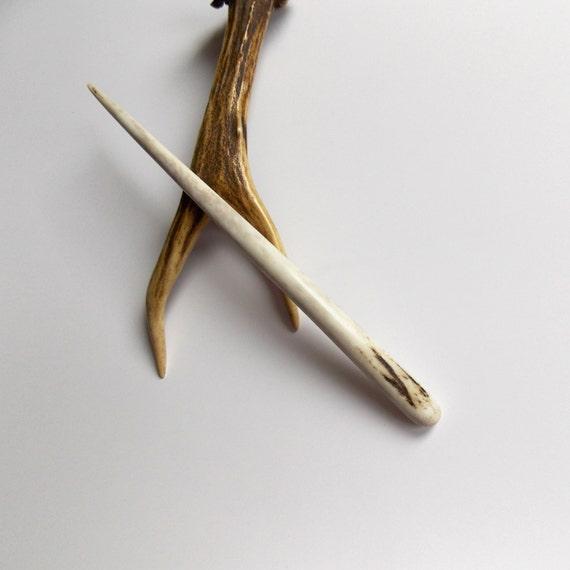 Hair stick deer antler bone carving pin by