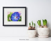Blue Morning Glory Painting ACEO 5x7 Matted Original Flower Art by Janet Zeh