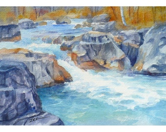 Watercolor Landscape Original 5x7 Painting Marble Canyon River Art by Janet Zeh Original Art