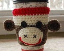 Monkey Coffee Cozy, Animal Cozy, Crochet Coffee Cozy, Sock Monkey Cozies, Crocheted Sock Monkey, Monkey Cozy, Cute Crochet Monkey