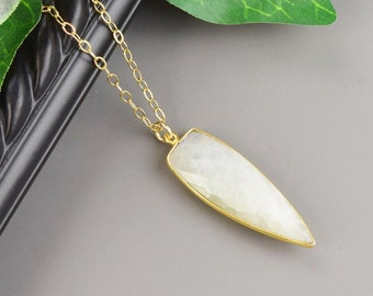 Moonstone Necklace - Dagger Necklace - Gold Gemstone Necklace - Moonstone Pendant - Layered Necklace - Long Layering Necklace - White Stone